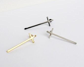 Cross Piercing,Cross Barbell,Cross Earring,Cross Tragus,Body Jewelry,Cartilage Earring,Upper Earlobe Piercing,Helix,Conch,PP86