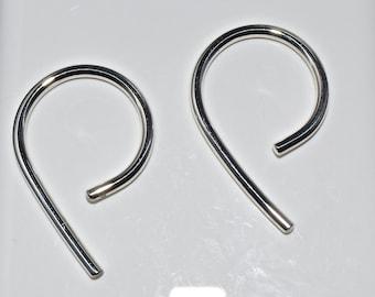 10 Gauge .999 Pure Silver Long Hoop Earrings