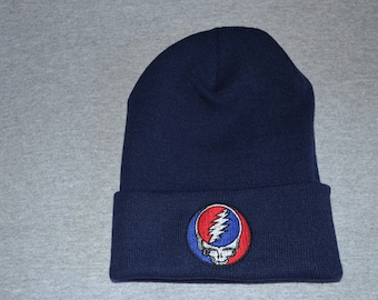 Grateful Dead -- Steal Your Face -- Embroidered on a Navy Blue Knit Cuffed Beanie -- FREE Shipping--
