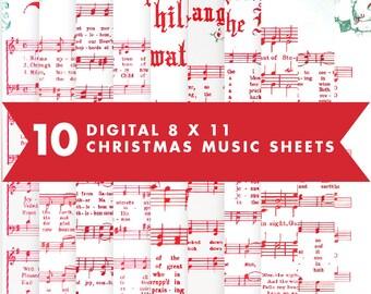 Vintage Christmas Music Sheets Digital Scrapbooking Paper 8 x 11