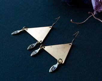 Triangle Earrings / Shiny Brass Triangle Earrings / Geometric / Triangle Dangly Earrings / Modern Brass Earrings