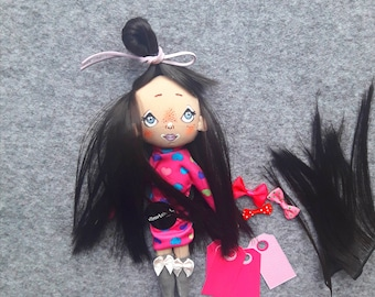 Longhair doll. Gift for girl. Handpainted face. Soft doll