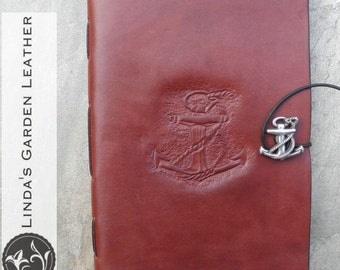 Handmade Leather Anchor Journal or Sketchbook