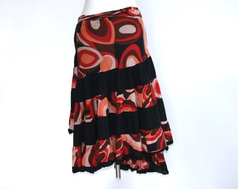 Gypsy skirt ruffles red and black / pareo / hippie skirt / gypsy skirt / skirt hipster / full skirt
