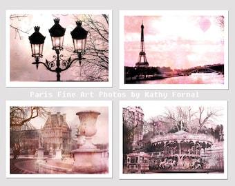 Paris Photography, Paris Blush Pink Prints, Paris Eiffel Tower Pink Decor, Dreamy Paris Pink Shabby Chic Photographs, Set of 4 Paris Prints