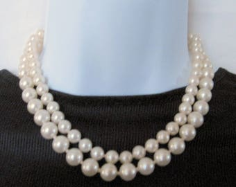 Two-Strand Glass Pearl Choker Necklace 1950s Vintage
