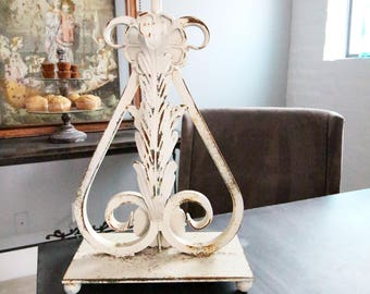 Shabby Iron lamp with chippy cream paint iron lamp desk lamp table lamp antique lamp rustic lamp rustin table lamp