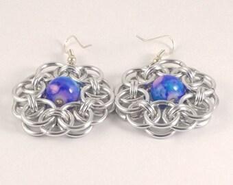 Handmade Aluminum Flower Unit Chainmaille Weave Acrylic Galaxy Bead Fish Hook Earrings