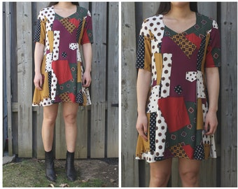 Vintage patchwork printed dress, flowy and bohemian style, boho-chic festival