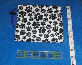 Black Paw Prints Handmade Drawstring Bag