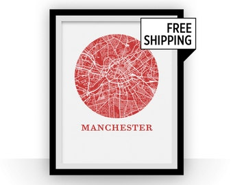Manchester Map Print - City Map Poster
