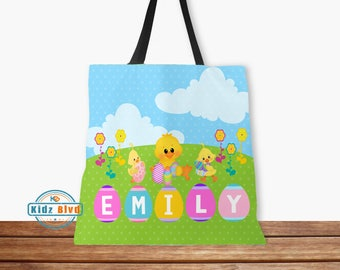 Personalized Easter Tote Bag - Kids Easter Bags - Easter Ducklings Tote Bag - Kids Easter Gift - Girls Easter Tote Bag