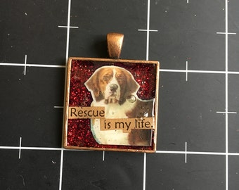 Rescue is My Life, Magestic Dog Pendant, Saint Bernard Dog. 50% of the proceeds go to the current selected animal charity