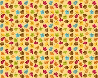 Fall Leaf Fabric, Riley Blake C4034 Gold, Happy Harvest by Doodlebug Designs, Leaves & Acorns, Fall Quilt Fabric, Cotton