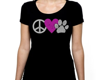 Peace Love Paw RHINESTONE t-shirt tank top  Bling S M L XL 2XL Paws Animal Dog Cat Pet Rescue Volunteer Lover pets shelter rescue