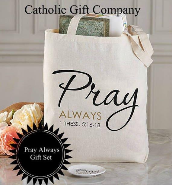 Bible Verse Gift Set - Catholic Gift Ideas - Inspirational Gift Set- Pray Always Tote Bag and Dish