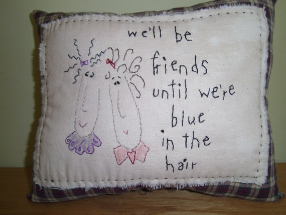 Hand Embroidery, Pillow, PAFA Team, Friends, Saying