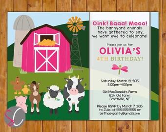 Farm Animals Birthday Party Invite Cow Pig Horse Barnyard Hot Pink Barn Girl's 2nd 3rd 4th Toddler 5x7 Digital JPG (437hp)