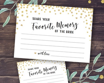 My Favorite Memory of the Bride Card Printable, Wedding Shower Games Instant Download, Bridal Shower Activity, Memories of Newlyweds, Gold