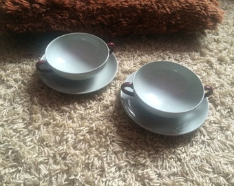 Lovely Wedgwood Windsor Grey Pair of Soup Bowls and Saucers!