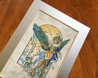 Matted 4x6 Art Print Angel of Winter Winged Goddess Seasons with Snowflakes, Raven Wings, and Cloak Art Nouveau Series Mucha Style