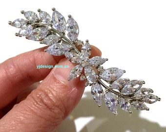 Cz Bridal Hair Jewelry, Wedding Hair Clip, Leaf Bridal Barrette, Vines Bridal Headpiece, Woodland Vines Wedding Barrette, DELILAH