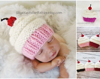 Baby Cupcake Hat, Knit Cupcake Hat, Newborn Cupcake Beanie, Knit Baby Hat, Preemie - 5 Years, Newborn Photo Prop, Baby Photography Prop