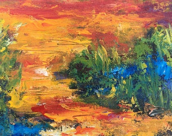 Twilight - point of view #12, original art, landscape, acrylic, semi-abstrait, 6 3/8 x 11 1/8 in. (16 x 28.5 cm), landscape, acrylic.
