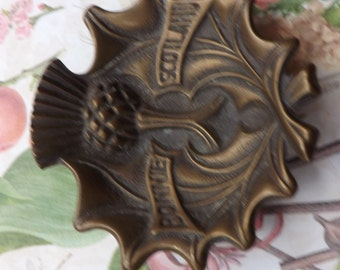 Brass thistle dish, vintage dish, brass dish , bonnie Scotland , thistle , Scotland  , soar Alba