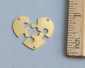 SALE, 3 Heart Puzzle Pendant, Heart Puzzle charms, 3 Piece heart puzzle, 24K Gold plated sterling silver 3 piece heart puzzle, 19mm(1 piece)