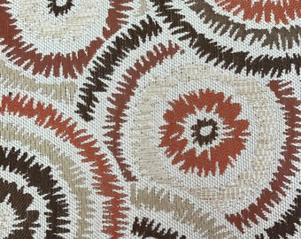 REMNANT FABRIC: Upholstery Weight Rust, Brown and Gold Circles REM-41