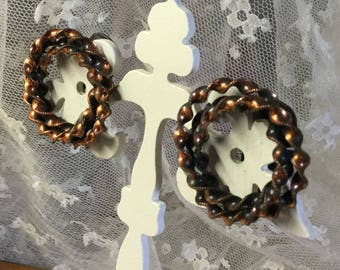 Very Twisted Copper Metal Wreath Earrings Clip On Unsigned 1970's 1980's Crimped Edges Double Wrapped Polished Femnine Woman Boho Bohemian