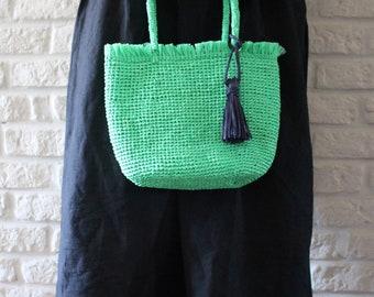 Raffia tote Green handbags Women's Raffia bag Summer handbags Handle bag Crochet tote bag Tassel handbag Cute tote bags Fringe purse Raphia