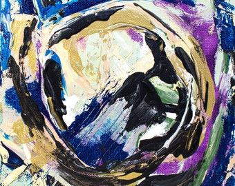 "Abstract Art, Original Painting, California Art, Abstract 8"" x 8"" Acrylic Painting, Square Painting, Small Original Painting, Wall Art"
