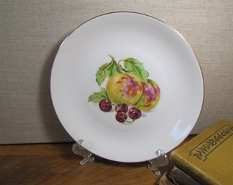 Bohemia - Fruit Pattern Plate - Peaches and Cherries - Gold Accent - Made in Czechoslovakia