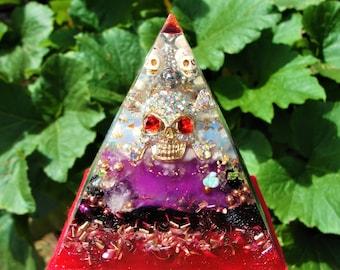 "Dancing Skulls and Skeleton Bones Glow in the Dark Orgone Pyramid 5 x 4.5"" Rare Crystal Energy"