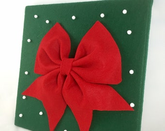Christmas Wall Decor / Holiday Canvas Art / Winter wall decor/ Red Bow & Snow /Great Holiday Gift /12x12
