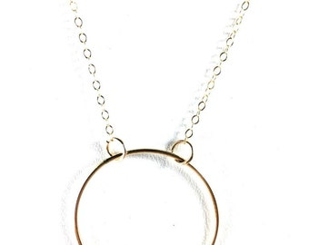 Circle Necklace, Gold Circle Necklace, Large Circle Pendant, Dainty Necklace, Large Circle Necklace, Gold Filled Necklace