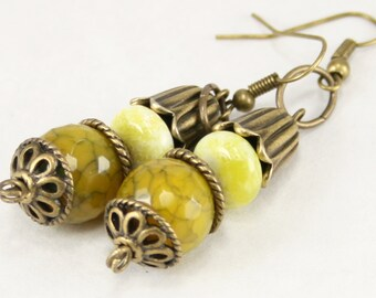 Lemon yellow jade, agate, and antique brass earrings