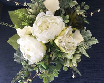 Wedding bouquet,Greenery Bouquet, Succulent Bouquet,White Bridal bouquet,Boho bouquet,Silk Wedding Flowers,Greenery Bridal Flowers, Rustic