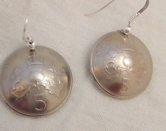 """Genuine pieces of """"5 NEW PENCE"""" Earrings from the United Kingdom."""