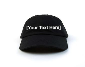 Custom Dad Hat, Custom Baseball Caps, Dad Hat Custom, Embroidered Baseball Cap, Adjustable Strap Back Baseball Cap, Low Profile, Black