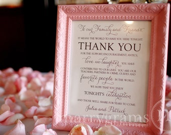 Wedding Reception Thank You Sign - To Our Family & Friends Signage - Matching Table Numbers Avail.- Custom Wedding Guest Thank You Card SS01