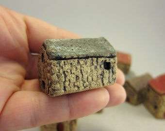 INVENTORY SALE...Old Barn...Green Roof...Miniature HOuse in Rustic Stoneware
