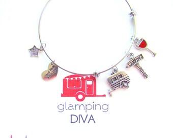 Glamping Diva Boxed Expandable Bangle Bracelet, Girlfriend Gift