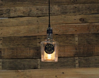 Blade & Bow Bourbon Pendant Light - Upcycled Industrial Glass Ceiling Light - Handmade Bourbon Bottle Light Fixture, Restaurant Lighting