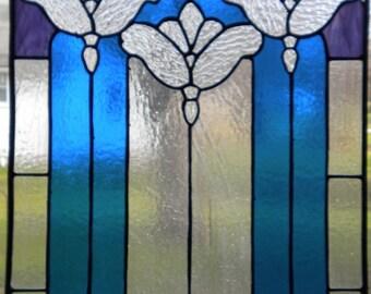 Art Noveau stained glass window panel