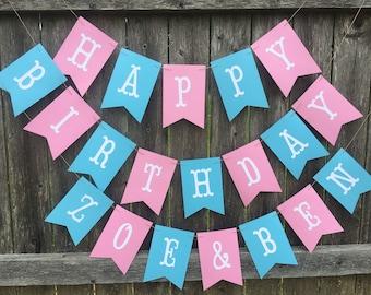 Happy Birthday banner . Twins birthday banner. Boy girl twins first birthday. Pink and blue birthday banner. Twins 1st birthday.