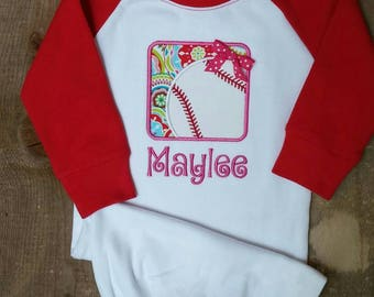 Red raglan Infant Gown with Baseball Applique and Monogrammed Name