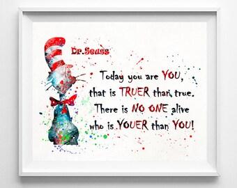 Dr. Seuss Print, Dr. Seuss Art, Dr. Seuss,, Doctor Seuss, Dr. Seuss Poster, Seuss Watercolor, Nursery Posters, Type 3, Fathers Day Gift